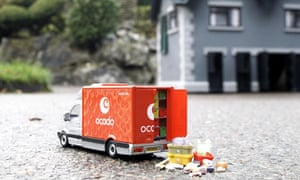 Copy of an Ocado delivery van created by miniature artist Carol Cook