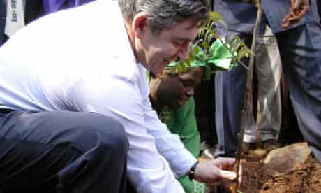 Gordon Brown planting a tree in Kenya