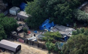 Jaycee Dugard kidnapping: Tarpaulins, tents and a wooden structure are seen in the backyard
