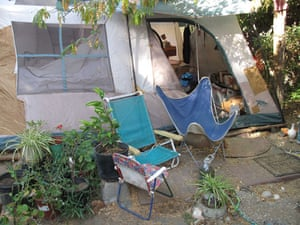 Jaycee Dugard kidnapping: Chairs outside a tent in the backyard of Phillip Garrido's home