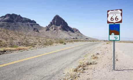 Route 66 at Oatman, Arizona during the Grapes of Wrath road trip.