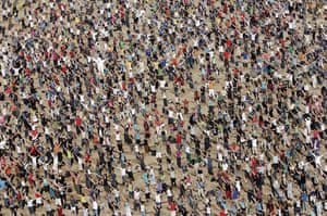 24 hours in pictures: Oostende, Belgium: 10000 people take part in The Big Ask Again video