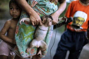 24 hours in pictures: Sarawak State, Malaysia: Boy hides behind his mother holding a pet monkey