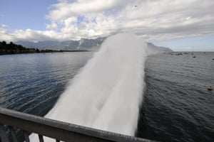 24 hours in pictures: Veytaux, Switzerland: A huge water jet of 350m length