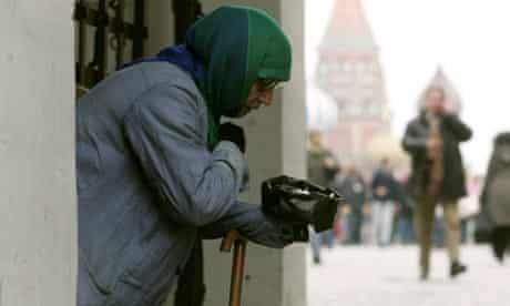 Beggar in passage to Moscow's Red Square, Russia