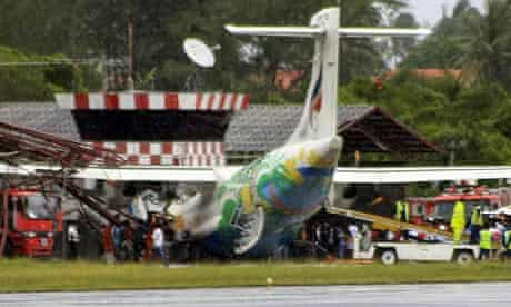 Bangkok Airways plane after it crashed into a traffic control tower on the Thai island of Koh Samui