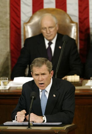 Korea and the US: US President George W Bush speaks during his 2002 State of the Union speech