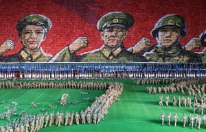 Korea and the US: 2000: North Korean soldiers performing at the May Day Stadium in Pyongyang