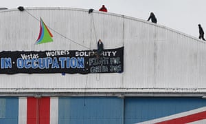 Protesters at the Vestas factory in Cowes