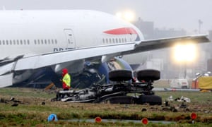 The British Airways Boeing 777 that crash-landed at Heathrow in January 2008