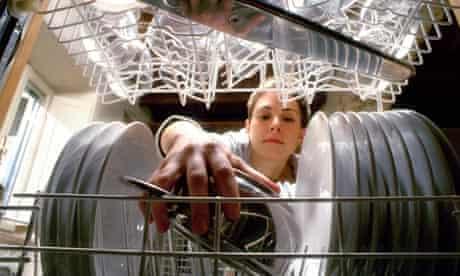 Woman placing saucepan in dishwasher
