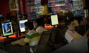 Surfers at an internet cafe in Beijing, China.