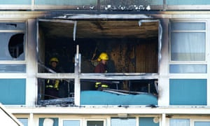 Fire damage at Camberwell tower block