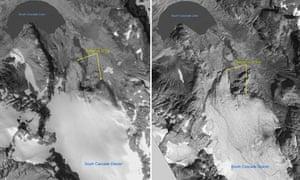 Meltinggt glacier : South Cascade glacier, Washington state, US