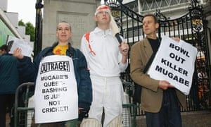 Peter Tatchell at protest against Robert Mugabe