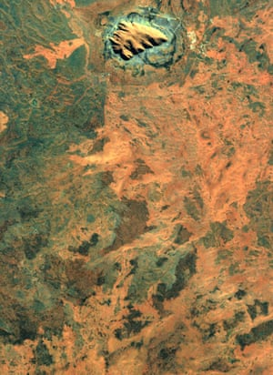 Satellite Eye on Earth: rock formation Uluru, Australia