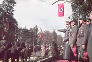 WW2 begins: Hitler  viewing the victory parade in Warsaw 1939