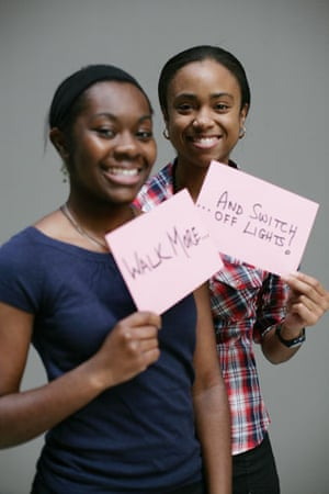 10:10 launch pledges: Irene Oppong and Alicia Roberts-Brown hold their 10:10 pledge