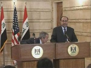al Zaidi released: George W. Bush ducks the shoe thrown by Muntazer al-Zaidi