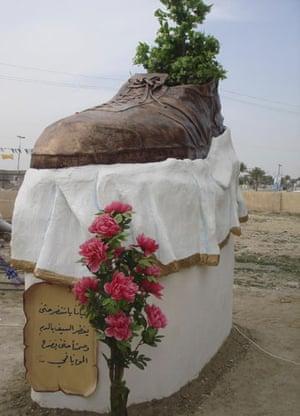 al Zaidi released: A statue built for Iraqi journalist Muntazer al-Zaidi in Tikrit