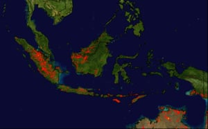 Deforestation in Sumatra: Satellite view of forest fires on Sumatra and Borneo islands, Indonesia