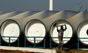 A wind turbine factory at Khori in the western Indian state of Maharashtra