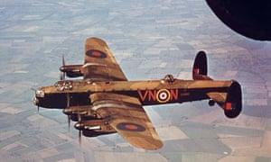 A Lancaster Bomber in flight during World War II