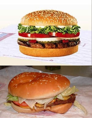 Advertising v reality: Burger King whopper