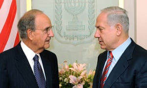 US envoy george Mitchell in Jerusalem with Israeli Prime Minister Bennjamin Netanyahu