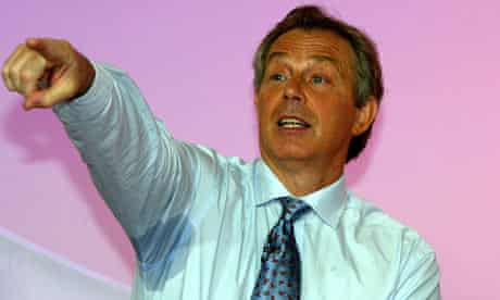 Tony Blair exposes a sweat patch.