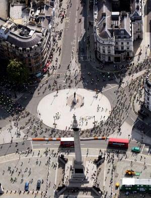 London's Skyride: The Skyride viewed from the air near Nelson's Column, Trafalgar Square