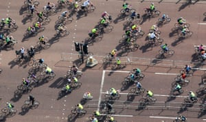 London's Skyride: Cyclists on The Mall