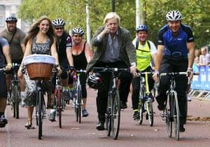 London's Skyride: Mayor of London Boris Johnson joined Chris Hoy, Kelly Brook