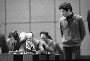 Kasparov v Karpov: Garri Kasparov watches Anatoly Karpov in 1982