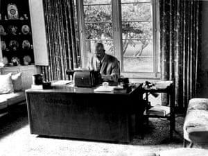P G Wodehouse: P.G. Wodehouse at his typewriter in 1971