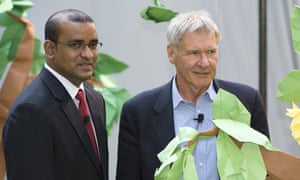 US actor Harrison Ford (R) and Guyana's President Bharrat Jagdeo in New York