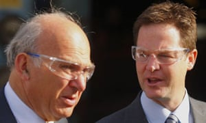 Vincent Cable and Nick Clegg wearing safety glasses