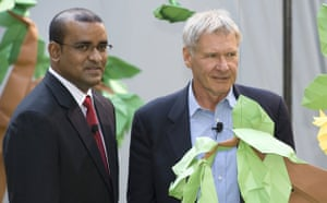 Climate Week in New York: US actor Harrison Ford (R) is joined by Guyana's President Bharrat Jagdeo