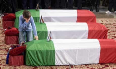 Son of Italian soldier killed in Afghanistan during funeral in Rome