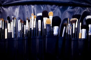 The Burberry Show: A make-up artists brushes backstage