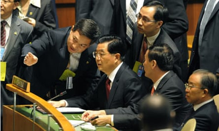 Hu Jinato during the the Summit on Climate Change at the United Nations UN in New York