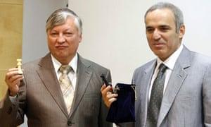 Former chess world champions Kasparov and Karpov