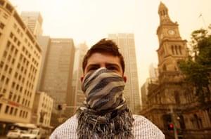 Sydney dust storm: A man wearing a scarf as a mask
