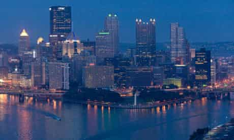 The skyline of downtown Pittsburgh, Pennsylvania.