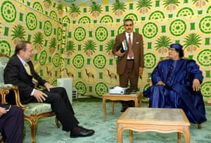 Gaddafi tent : javier solana talks with libyan leader gaddafi in brussels