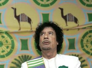 Gaddafi tent : Libyan leader Muammar Gaddafi attends a news conference in a tent in Kiev