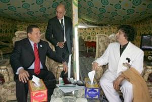 Gaddafi tent : Chsvez in Gaddafi's tent Latin Arab Summit 2009