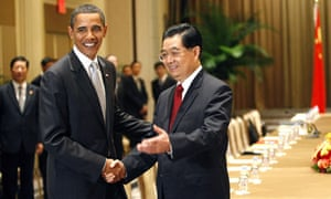UN Climate change meeting : Barack Obama meets Chinese President Hu Jintao in New York
