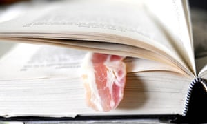 A bacon rasher in a library book returned in Worthing.