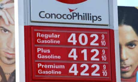 Gas prices are seen displayed at a ConocoPhillips service station, San Francisco